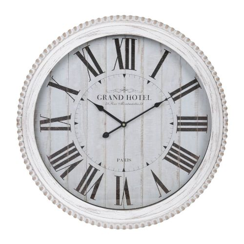 Large White Wooden Wall Clock - French Country Grand Hotel Paris Distressed Wall Clock 60cm